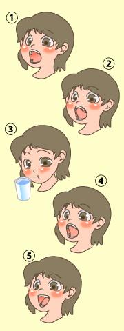 食べ物をこぼさないようにする訓練のイメージ